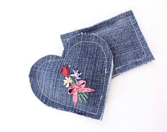 Embroidered Lavender Sachets Set of Two Upcycled Denim, Bouquet on Blue