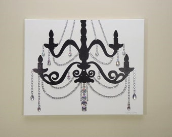 White chandelier painting 20x20 pop art silver artwork white black chandelier painting 20x16 pop art rhinestones home decor wall aloadofball Gallery