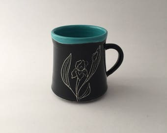 Hand Thrown Floral Iris Pottery Mug