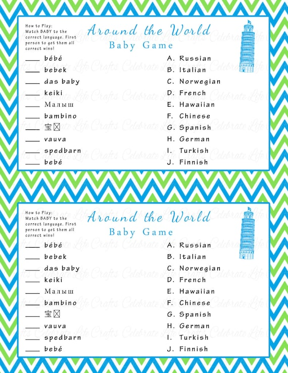 Around The World Baby Game Printable Baby Shower Games