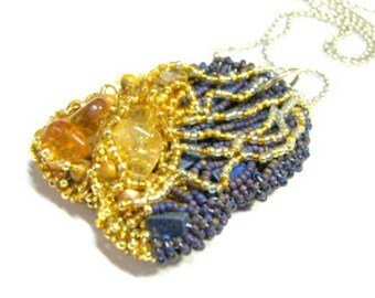 Talisman Pendant, Sun Goddess Pendant, Sun Pendant Amulet seed bead gemstone, healing, protection