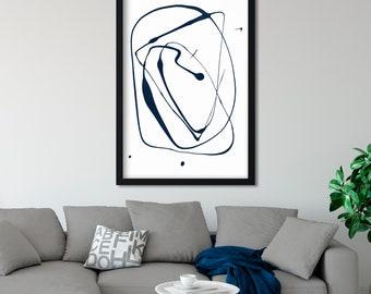 Scandinavian Print, Minimalist Painting, Abstract Painting, Indigo Blue Wall Art, Navy Abstract Print, Boho Decor, Minimal Wall Art