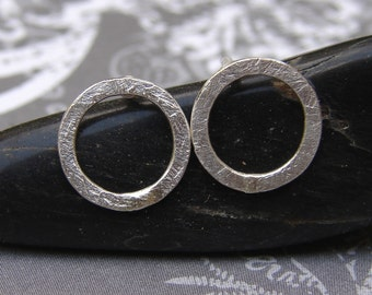 Open Circle Post Earrings, Handmade Sterling Silver Earrings, Modern Minimalist Textured Silver Circle Stud Earrings