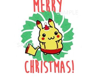 Pokemon Christmas Card Cute Pikachu Xmas Card Digital Download