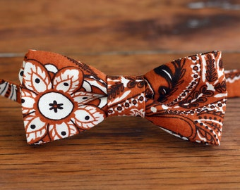 Boys Brown Paisley Floral Bow Tie - bowtie for baby, infant, toddler, child, kid - brown cotton bow ties - floral ties