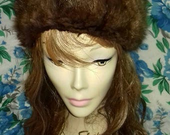 Brown vintage winter fur hat.