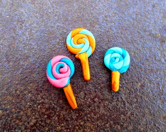 Polymer lollipops, Lollipop Dollhouse Food, Pretend Food, mini lollipop, Faux food, Fake Food, Miniature lollipops
