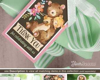 Bear Baby Shower Gift Tags, Woodland Girl Thank You Favor Tags printable INSTANT DOWNLOAD - 04b