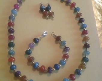Multi-Colored Necklace, Bracelet and Earrings