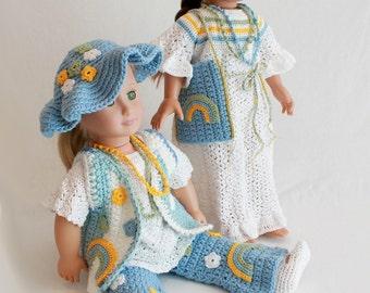 """18"""" Doll Hippie Wardrobe Crochet Pattern PDF"""
