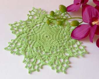 Crochet doily Green crochet doilies Small lace doilies Crocheted cotton doilie Home decor 149