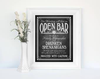 Printed Open Bar Wedding Sign   Drunken Shenanigans sign, wedding Open Bar Sign, Chalkboard wedding, rustic wedding, country wedding poster
