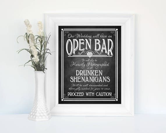 Printed Open Bar Wedding Sign | Drunken Shenanigans sign, wedding Open Bar Sign, Chalkboard wedding, rustic wedding, country wedding poster