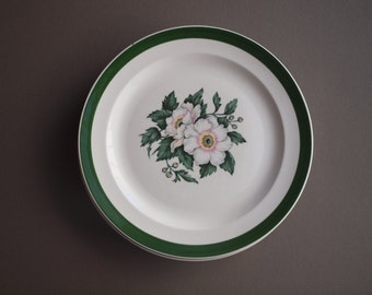 Hibiscus flower dinner plate set of 4 Cronin China National Brotherhood vintage retro tropical table mid century made in USA