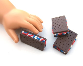 Patriotic Ice Cream Sandwich with Blue, White and Red Sprinkles - Handmade Gourmet Doll Food For Your American Girl Doll