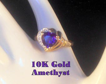 Ring 10K Yellow and White Gold Heart Cut Amethyst & Diamond US Ring Size 8 3/4 Valentines Promise Birthday Ring Gift For Her