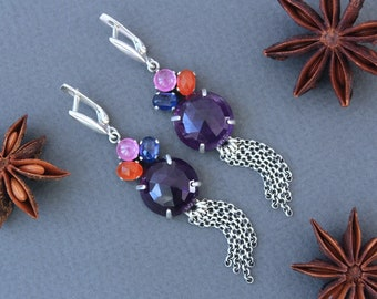Floral Garden - Large Amethyst Sterling Silver Earrings with Kyanite, Sapphire, Carnelian Cabochons
