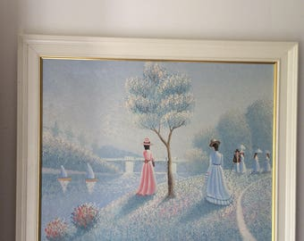 Painting on canvas, painting on chassis, walk along the water by technique of pointillism Painting on canvas, painting on frame.