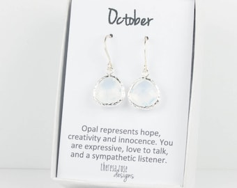 October Birthstone White Opal and Silver Framed Dangle Earrings, Silver Earrings, White Opal and Silver Earrings, October Birthday Gift