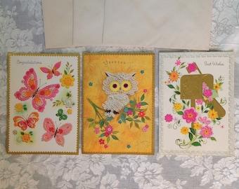 Set of 3 birthday greeting cards unused with envelopes embossed butterflies owl mailbox pink orange mod retro chic ephemera stationary