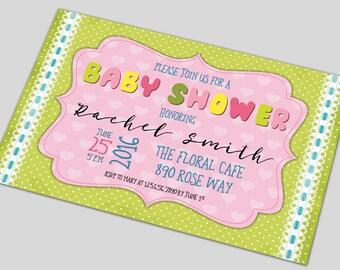 Baby Shower Invitation Printable, Baby Shower Invitation, Baby Shower Invite Custom