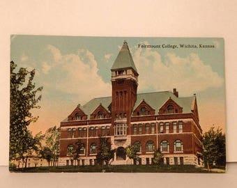 ON SALE 1920's Fairmont College Wichita Kansas KS Old Vintage Antique Postcard