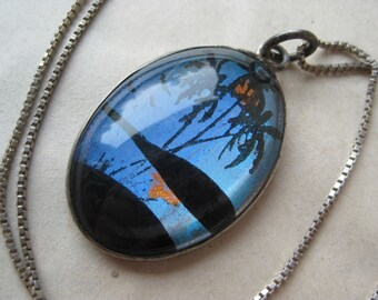 Tropical Butterfly Wing Sterling Necklace Silver Blue Orange Black Vintage Pendant 925