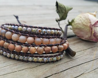 Beauty and the Beach leather wrap bracelet