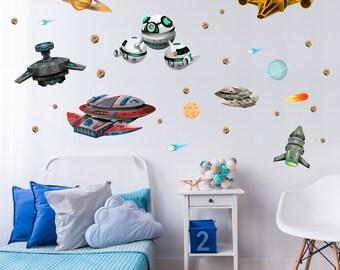 022 Wandtattoo Raumschiffe UFO Space Shuttle Planet Weltall Meteorit  *nikima* in 6 vers. Größen