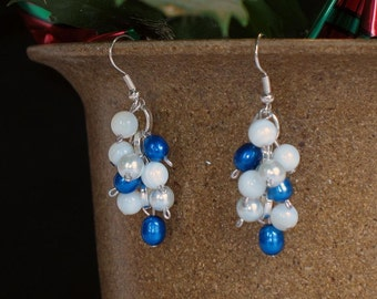 Mother of Pearl, Freshwater Pearl and Glass Pearl Dangle Earrings