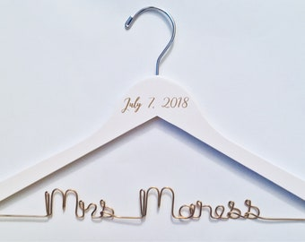 Bride Hangers, Personalized Hangers, Wedding Dress Hangers, Wedding hangers, Wire Hangers, Vinyl, wedding hanger personalized