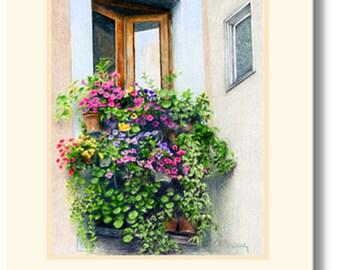 Garden in the Window handmade greeting card