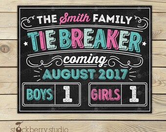 Tie Breaker Pregnancy Announcement Sign - Gender Reveal Sign - Photo Props - 3rd Pregnancy Reveal - Baby Announcement - pink or blue