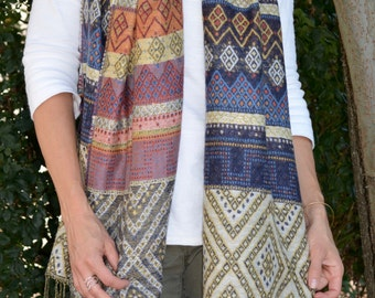 Two Sided Aztec Tassels Scarf