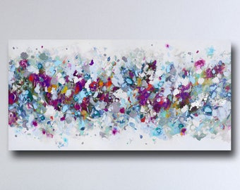 Large Panoramic Abstract Canvas Art, Wall Art, Blue Pink, White and Grey Abstract Print, Giclee Print, Large Abstract Print from Painting