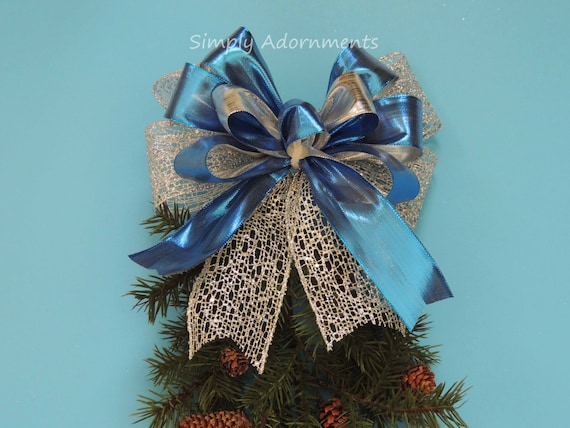 Blue Silver Gift Bow Metallic Blue Silver Wreath Bow Blue Silver Pew Bow Blue Christmas Ornament Bows Blue Winter Holiday Door hanger Bow