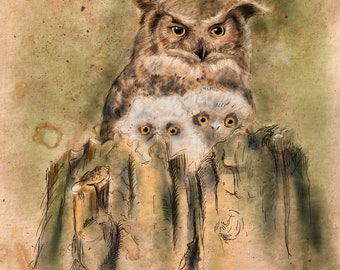 Owl family, gift ideas for you, artful life