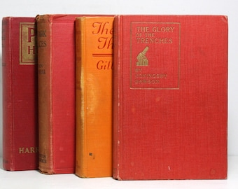Antique Books, Published 1918 to 1924, Set of 4 Hardcover Books, Shabby Old Books, The Glory of the Trenches, World War One, Stage Props