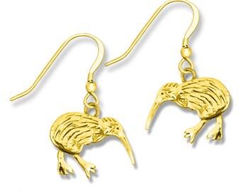 14K Solid Gold Kiwi Bird Earrings