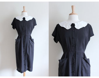 1950s Dress / Vintage Lampl Lace Collar Black Day Dress