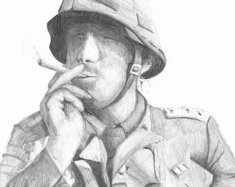 Vietnam war soldier smoking, pencil drawing Print