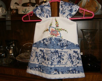 Baby Dress 6/8mo., Infant Dress 6/8mo., Baby Jumper 6/8mo., Upcycled Dress 6/8mo., Vintage Dress 6/8mo., Embroidered Dress 6/8mo.