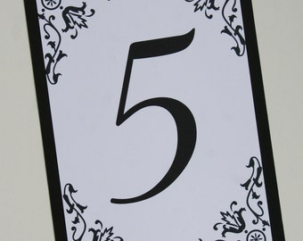 Black Brocade Table Number