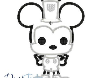 Pop Steamboat Mickey - 4x4, 5x7 and 6x10 in 9 formats - Applique - Instant Download - David Taylor Digitizing