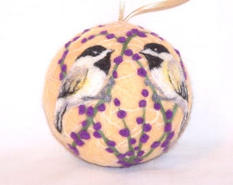 Needle Felted Christmas Ornaments Chickadee Birds - Cream - Bird Ornaments - Bird on Berry Bush - Felt Christmas Ornament - Gift Item