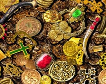 Fat Quarter Buried Treasure Pirates 100% Cotton Quilting Fabric Benartex