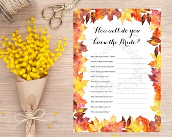 How well do you know the bride, Wedding shower game, bridal shower game, October, Fall Maple leaves, Fall wedding, INSTANT DOWNLOAD