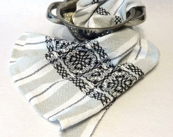 Woven Cotton Towel for Kitchen or Bath, Hand Towel,Bath Hand Towel, White Black Handtowel, Kitchen Towel, Handwoven Towel (14-07 white weft)