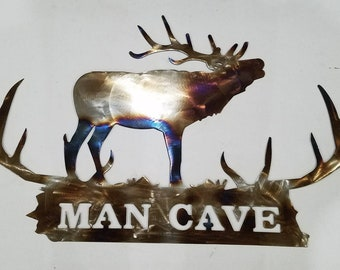 Elk Antler Metal Wall Art Home Office Den Man Cave Trophy Room Decor