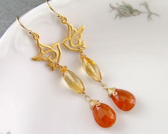 Mandarin garnet, citrine earrings, handmade 22k gold vermeil bird earrings, OOAK January birthstone jewelry